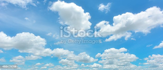 istock Blue sky and white cloud 488429206