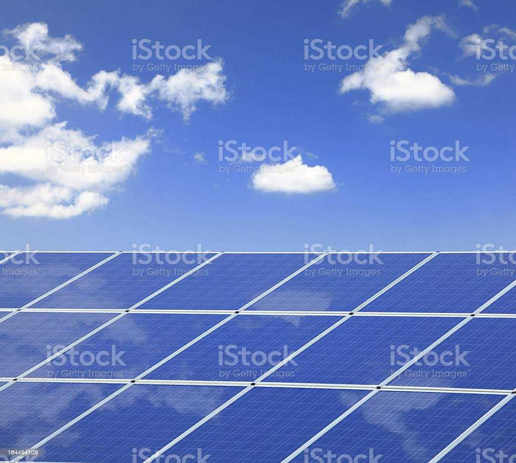 blue sky and white cloud reflection on Solar Panel royalty-free stock photo