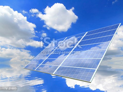 480763537 istock photo blue sky and white cloud reflection on Solar Panel 179131653