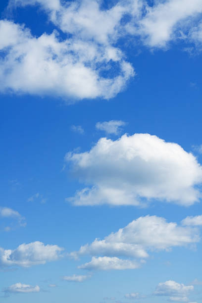 Blue sky and white clouds over horizon. stock photo