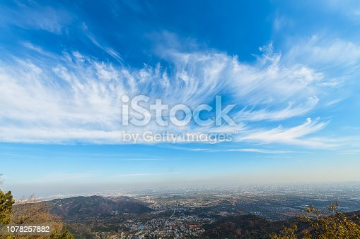 Blue sky and white clouds over the city