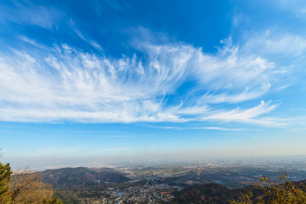 Blue sky and white clouds over the city Blue sky and white clouds over the city wind stock pictures, royalty-free photos & images