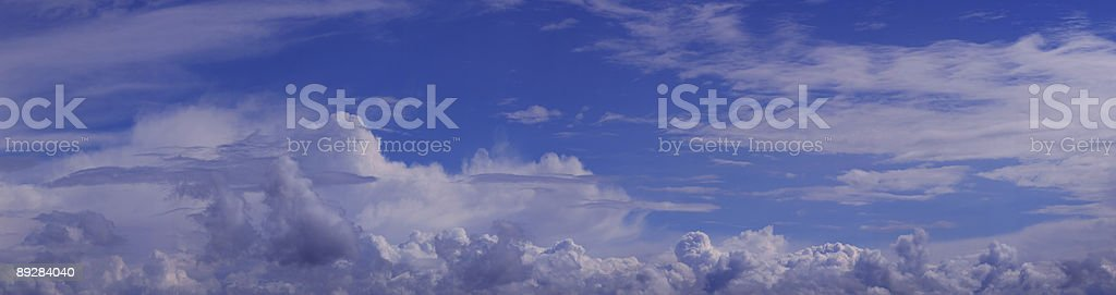 Blue Sky and White Clouds Panoramic (XXL) royalty-free stock photo