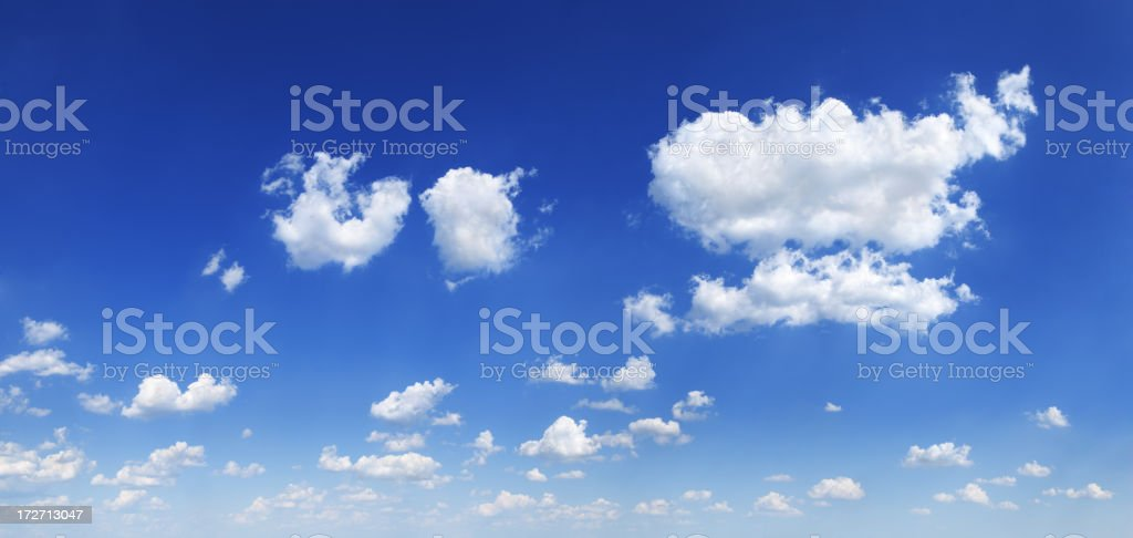 Blue sky and white clouds (Panorama XXXL) royalty-free stock photo