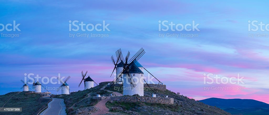 Blue sky and windmills in the background. stock photo