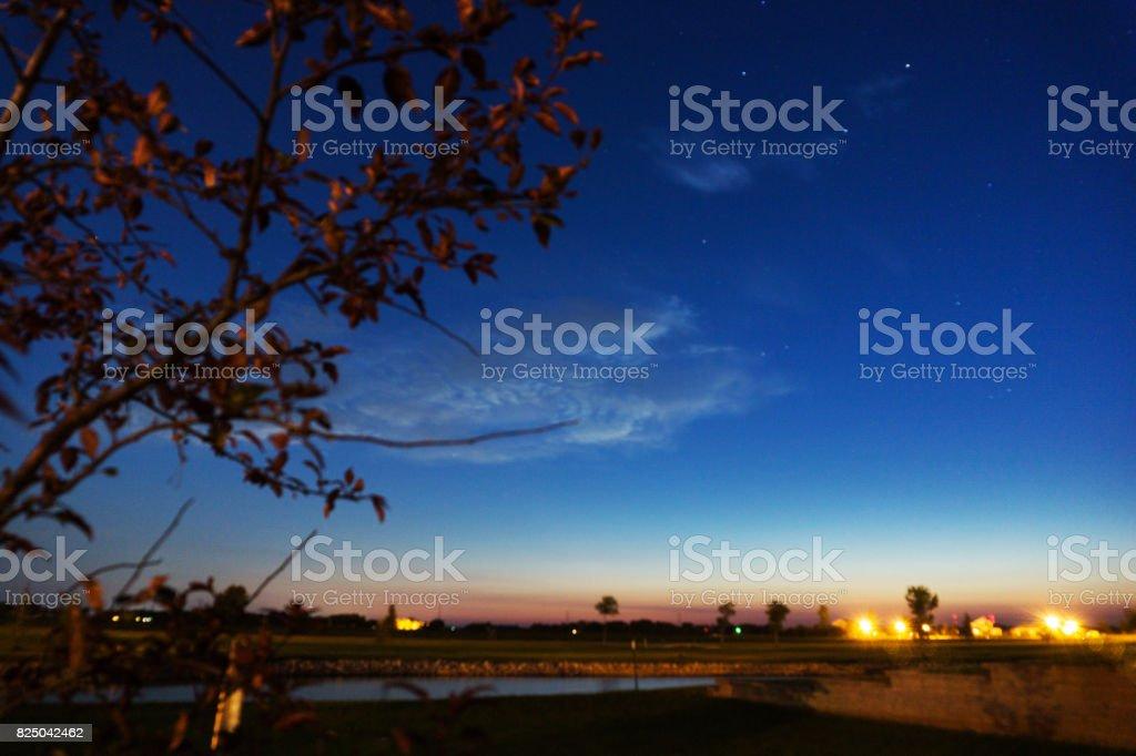Blue Sky at Night stock photo