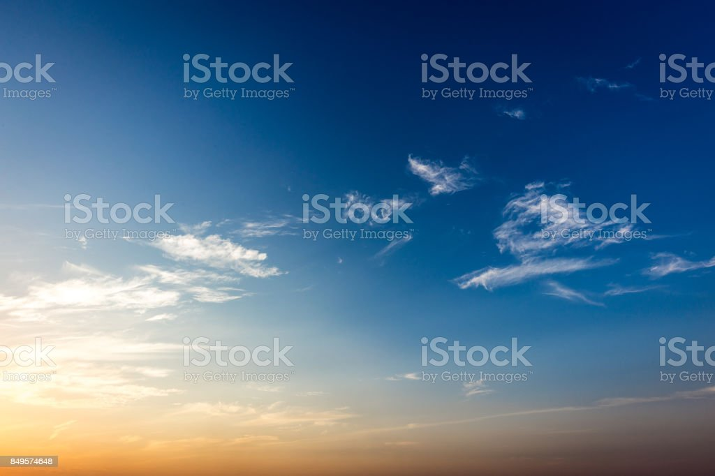Blue sky at sunset, Brazil. Border of Sao Paulo and Mato Grosso do sul states stock photo
