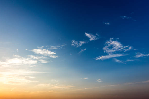 blue sky at sunset, brazil. border of sao paulo and mato grosso do sul states - skies stock photos and pictures