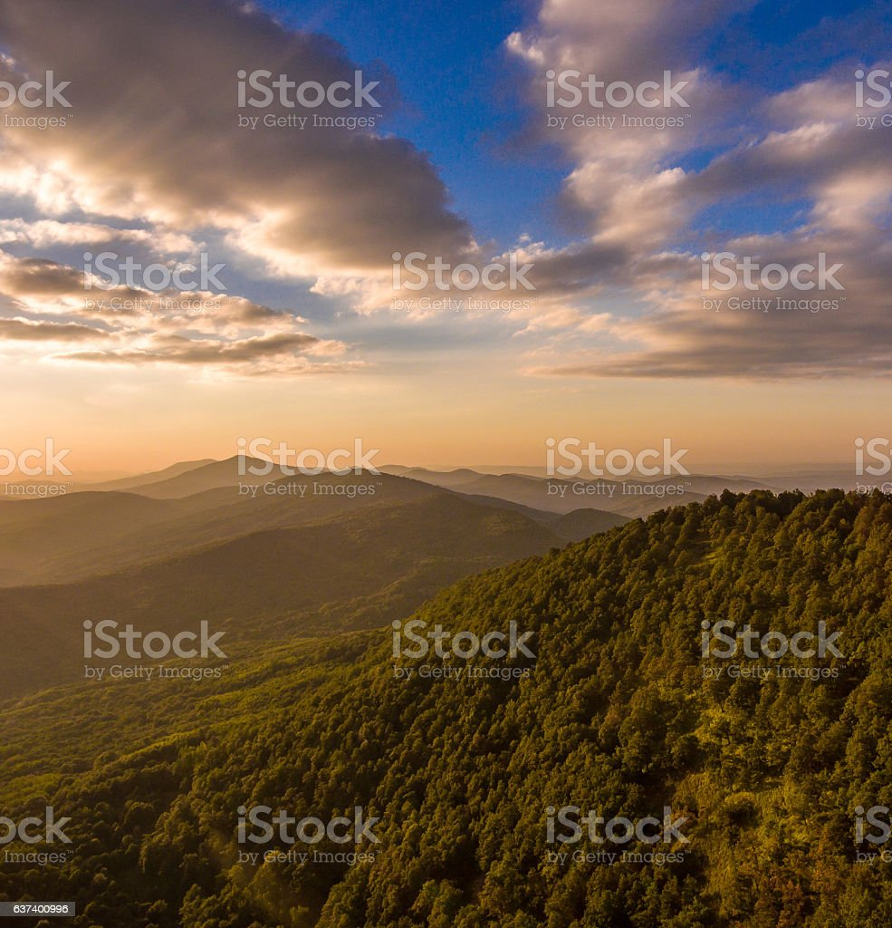 Blue sky at sunset. Mountain landscape. stock photo