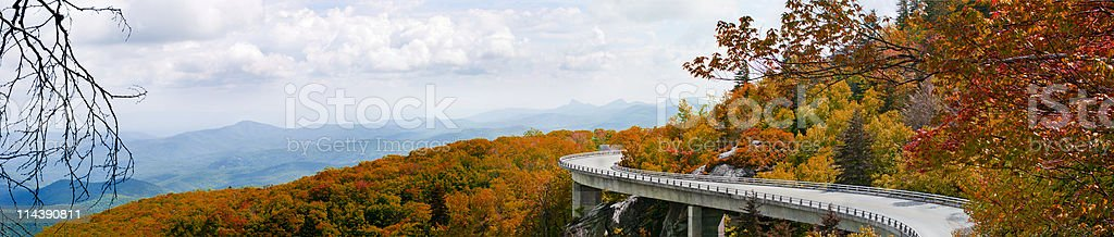 Blue sky Autumn day of Linn Cove Viaduct  stock photo