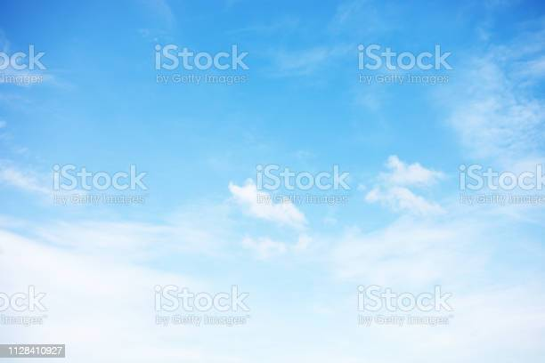 Photo of Blue sky background and white clouds soft focus, and copy space