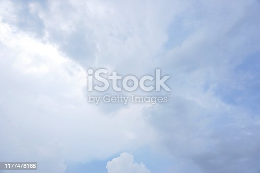 937694668istockphoto Blue sky background and white clouds soft focus 1177478168