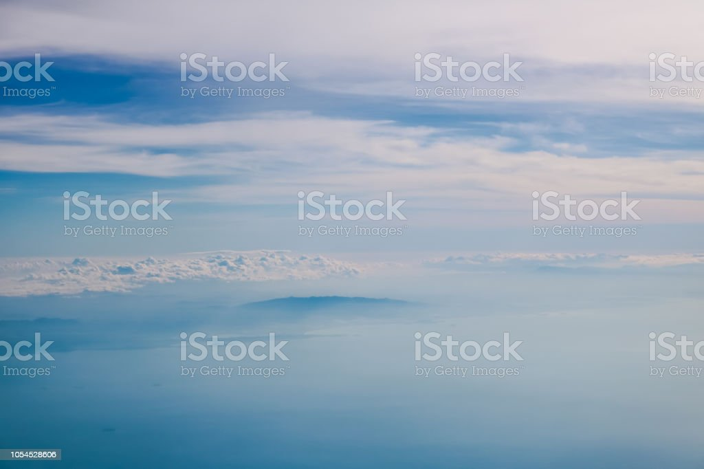 Blue sky background, top view. stock photo
