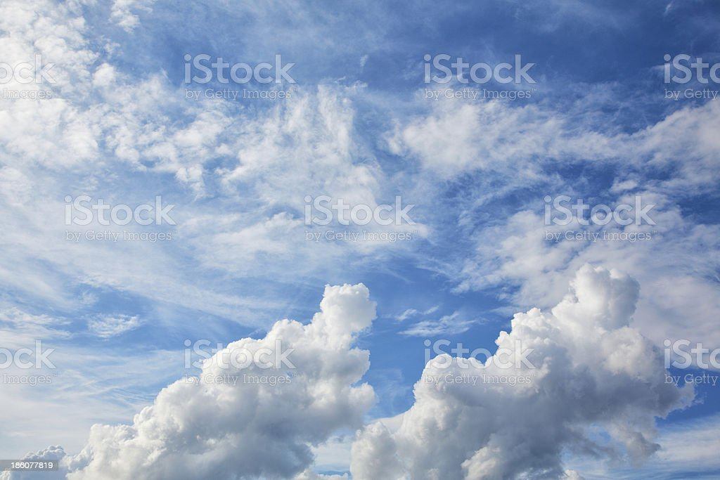 blue sky background with white clouds stock photo