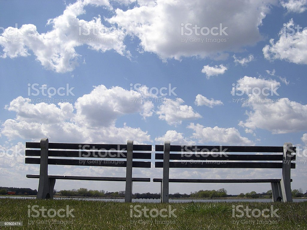 Blue Sky Bench 1 royalty-free stock photo