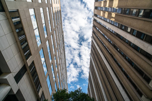 Blue sky between two buildings stock photo