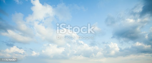 istock Blue sky clouds background. Beautiful landscape with clouds on sky 1170764301