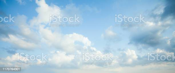 Photo of Blue sky clouds background. Beautiful landscape with clouds on sky