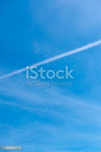 Blue sky, clouds.