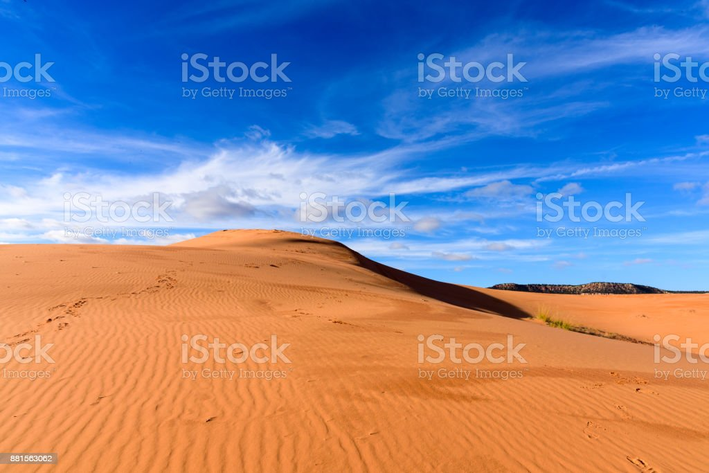 Blue Sky, Coral Pink Sand Dunes State Park in Utah, USA stock photo