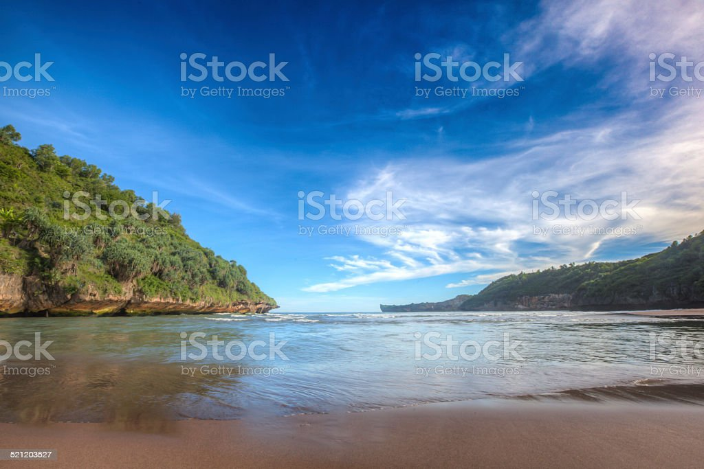 Blue sky daylight at Baron Beach Indonesia stock photo