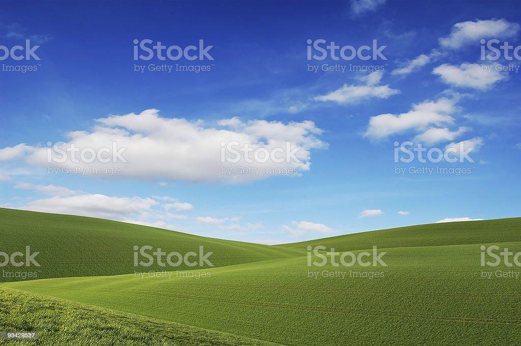 Blue Sky, Green Fields royalty-free stock photo