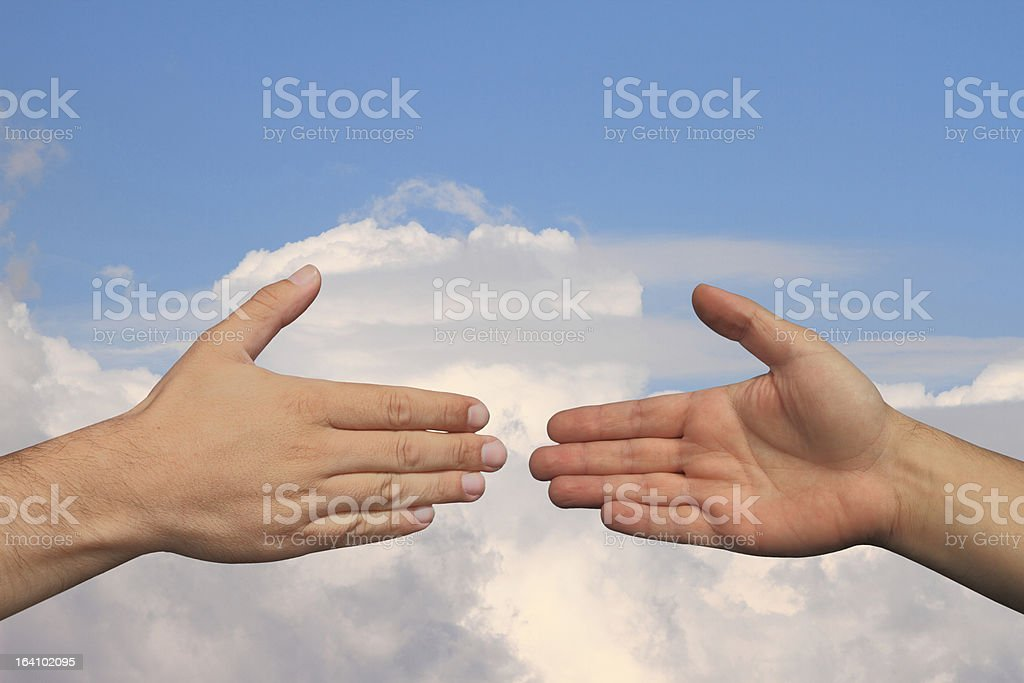 Blue sky handshake royalty-free stock photo