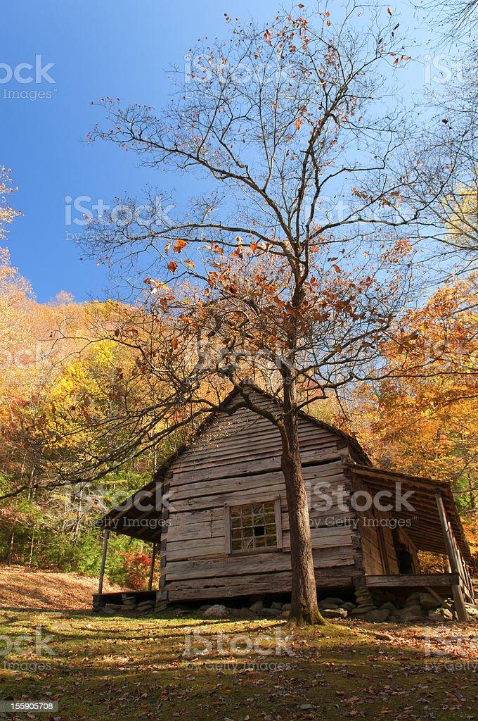 Blue Sky highlights pioneer housRoaring Fork- Gatlinburg, Tennessee stock photo