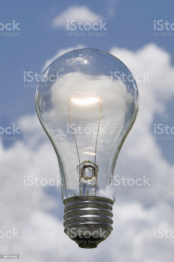 blue sky idea lightbulb royalty-free stock photo