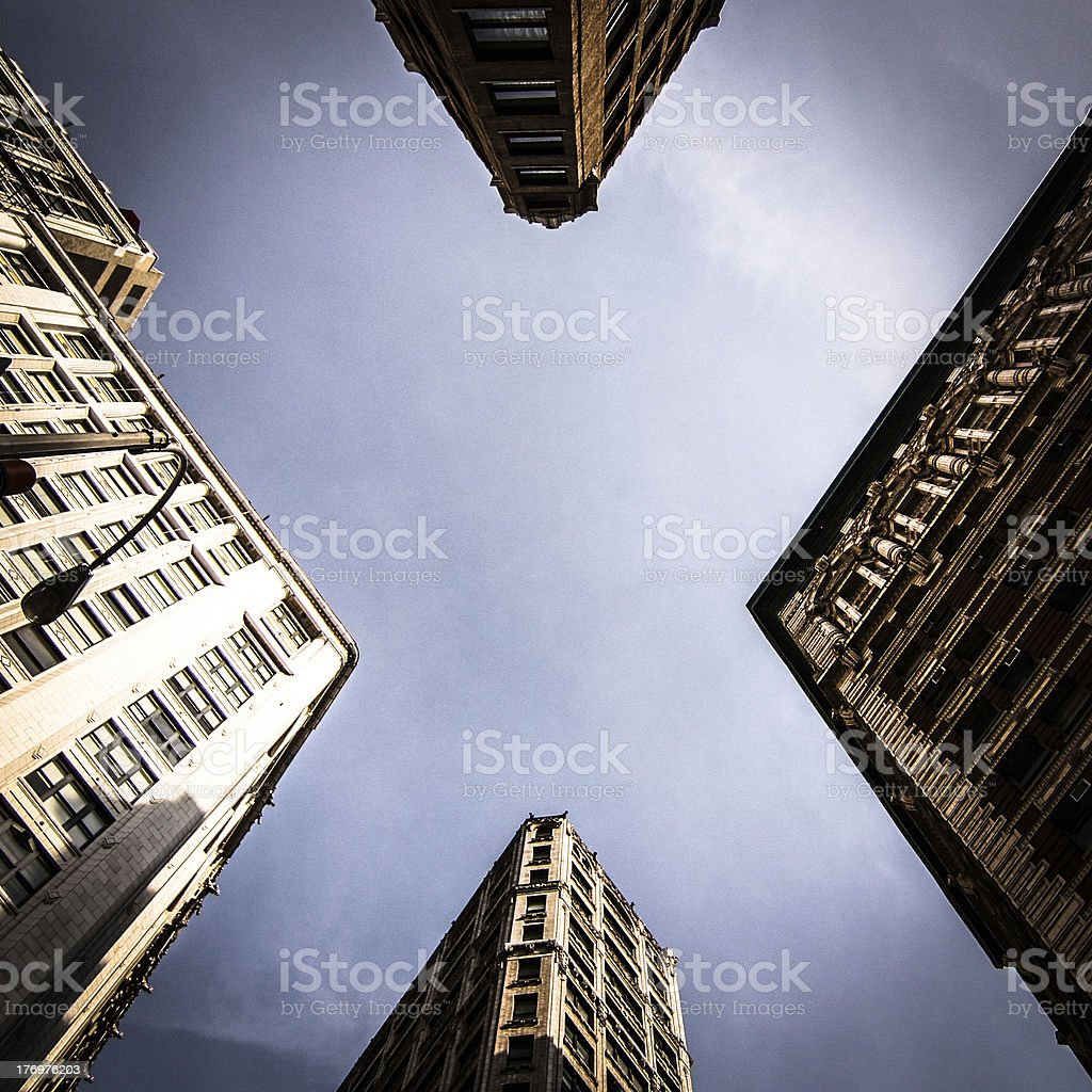 Blue sky in the shape of a letter 'X' stock photo