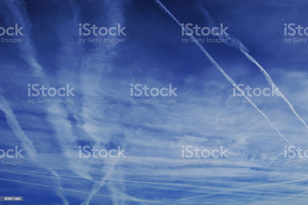 Blue Sky, Jet Trails royalty-free stock photo