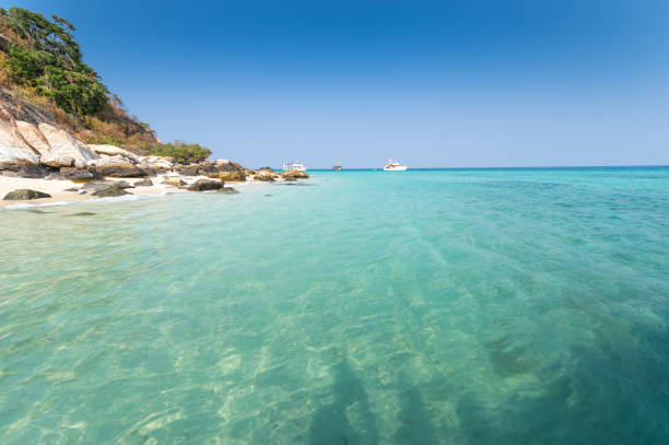 Blue sky landscape tropical beach sea in south thailand Asia stock photo