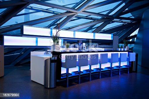 Illuminated blue sky lounge bar