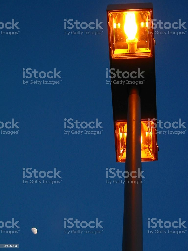 Blue sky moon with neon lamp royalty-free stock photo