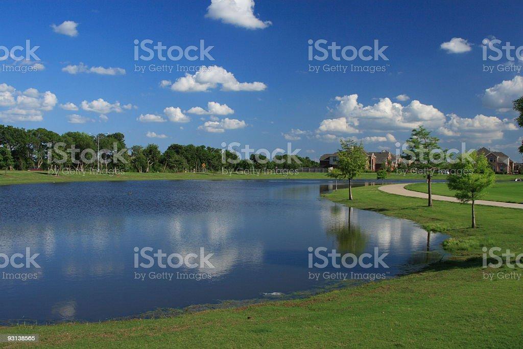 Blue Sky on Pond stock photo