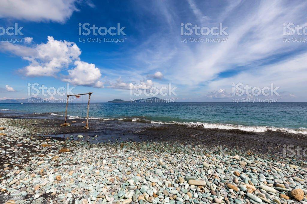 Blue sky over Blue Stone Beach stock photo