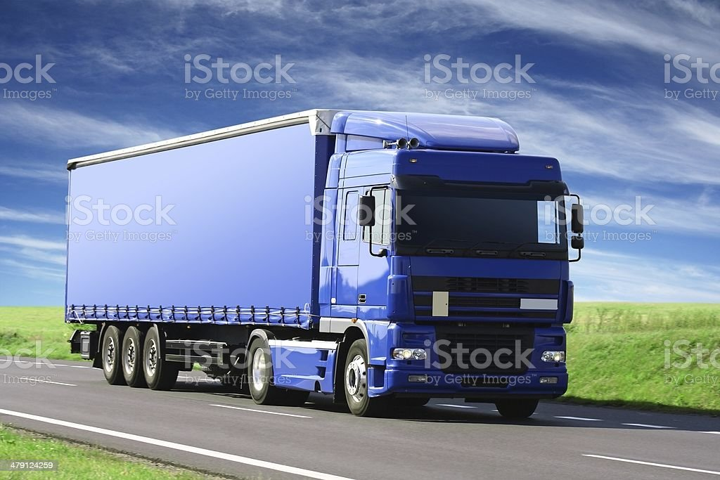 Blue Sky Over Blue Truck stock photo
