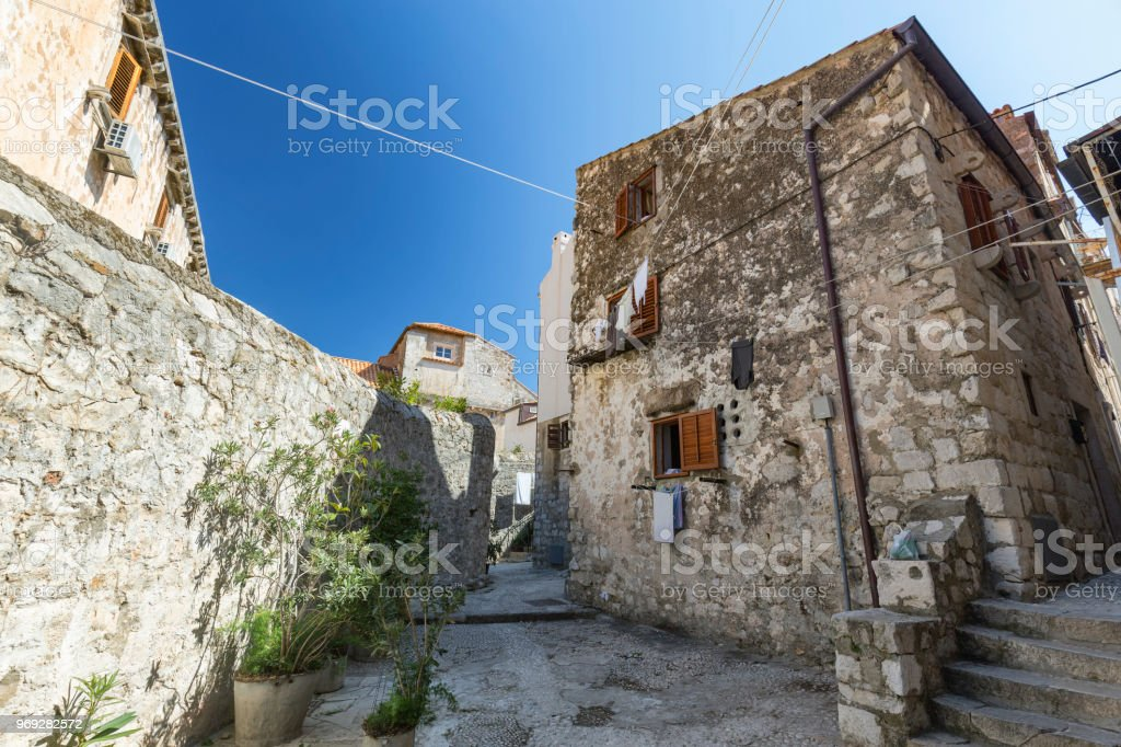 Blue sky over Dubrovnik stock photo
