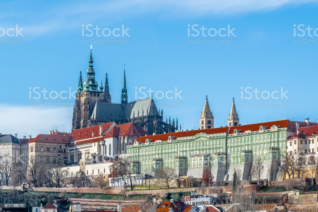 Blue sky over old Prague stock photo
