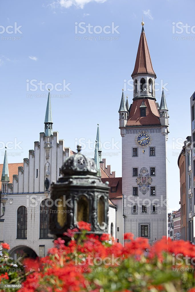 Blue sky over old town hall in Munich Germany stock photo