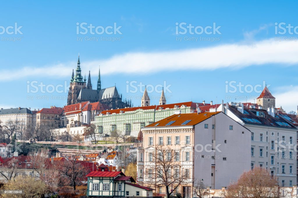 Blue sky over Prague castle stock photo