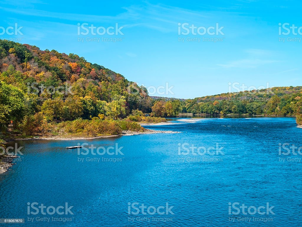 Blue Sky Over the Delaware stock photo