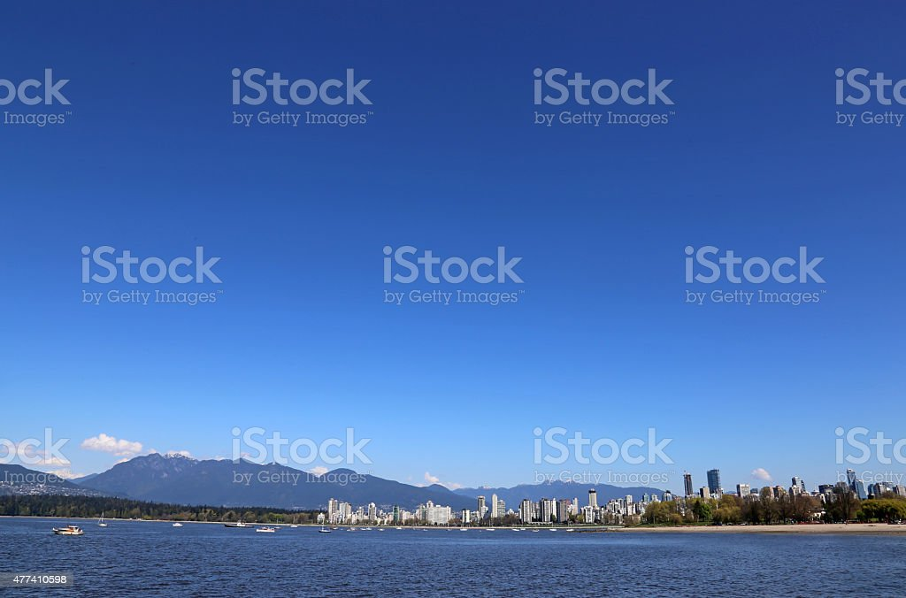 Blue Sky Over Vancouver Skyline stock photo