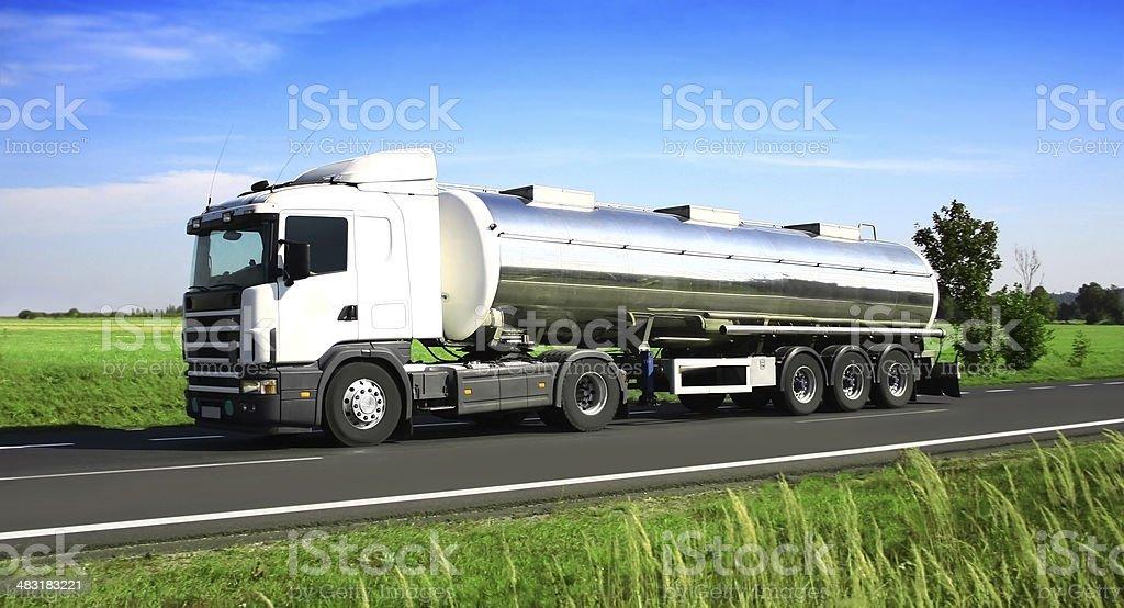 Blue Sky Over White Truck stock photo