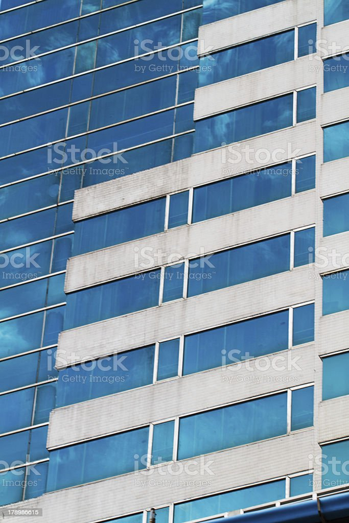 Blue Sky Reflected In Modern Building Mirror Glass Wall Stock ...