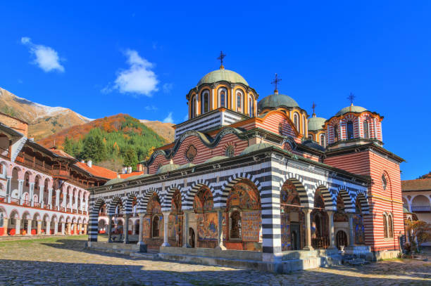 Blue sky Rila monastery stock photo
