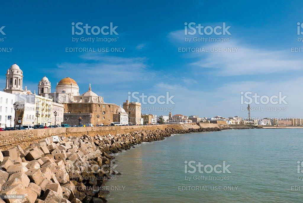 Blue sky, seafront and the Cathedral Campo del Sur stock photo