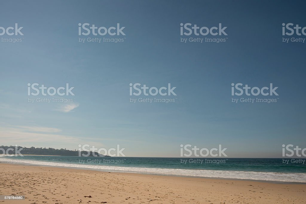 Blue Sky Sirrus Cloud Beach Sand Water Background Royalty Free Stock Photo