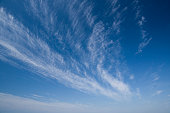 Blue sky summer clouds. Shot on a sunny summer day in Wangerooge Island, Friesland, Lower Saxony, Germany.