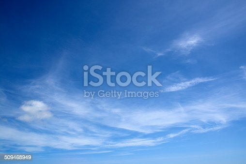 stratocumulus clouds in a deep blue sky.